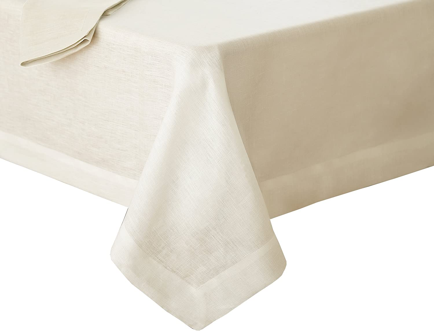 """Villeroy and Boch La Classica Luxury Linen Fabric Tablecloth, 70"""" x 96"""", Ivory"""