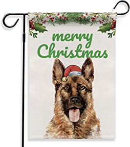 BellowDeer German Shepherd Dog Merry Christmas Xmas Double-Sided Yard Garden Flag Decor for Dog Lover, Dog Owner, Friend, House Yard Garden Indoor Outdoor Decoration