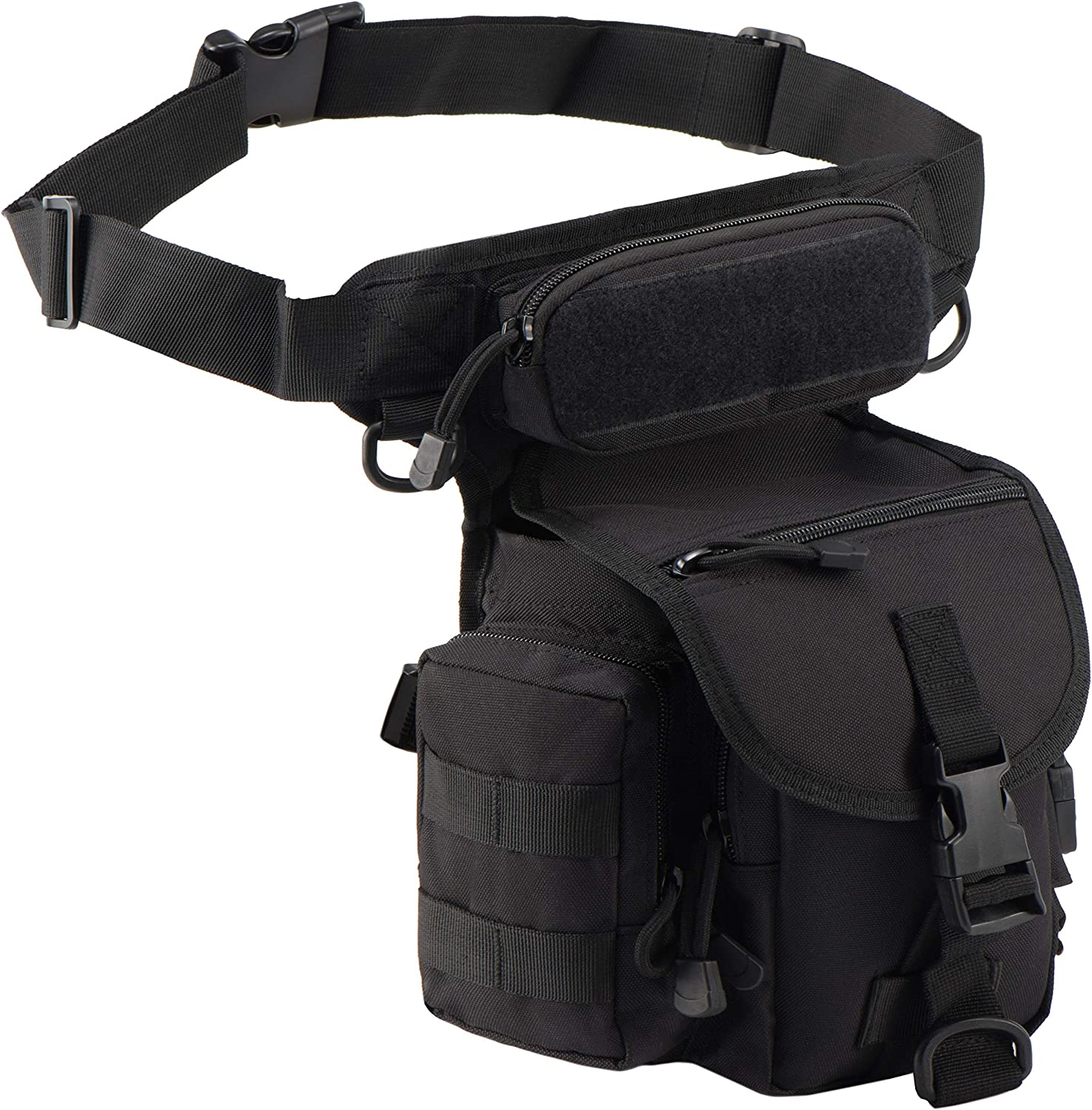 Image of a black leg bag attached to a waistband, buckle lock front flap