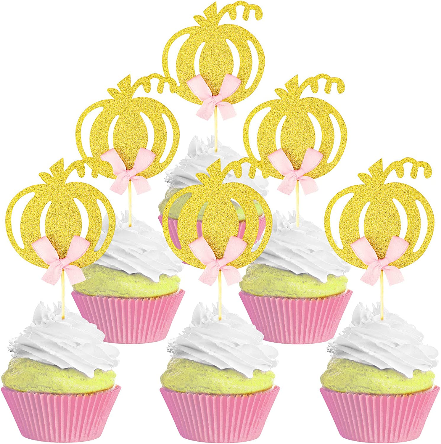 Boao 36 Pieces Pumpkin Cupcake Toppers Pumpkin Cake Topper Pumpkin Food Pick Fall Theme Cupcake Picks for Thanksgiving Birthday Baby Shower Party Supplies
