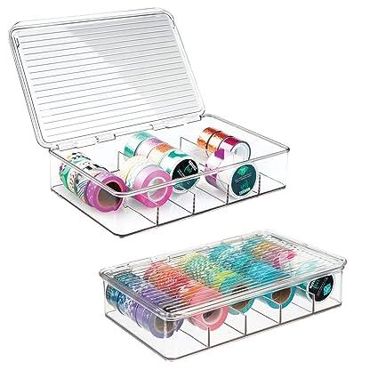 mDesign Organizador de manualidades – Fantástica caja de plástico con 5 compartimentos – Ideal para guardar