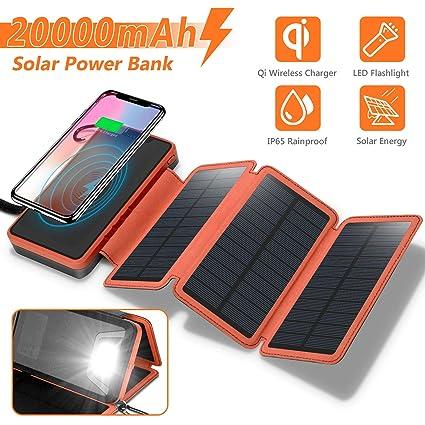 Amazon.com: Qi - Cargador solar portátil inalámbrico de ...