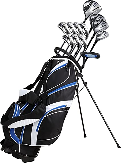 Amazon Com 18 Piece Men S Complete Golf Club Package Set With Titanium Driver 3 5 Fairway Woods 4 Hybrid 5 Sw Irons Putter Stand Bag 4 H C S Choose Color Size Sports Outdoors