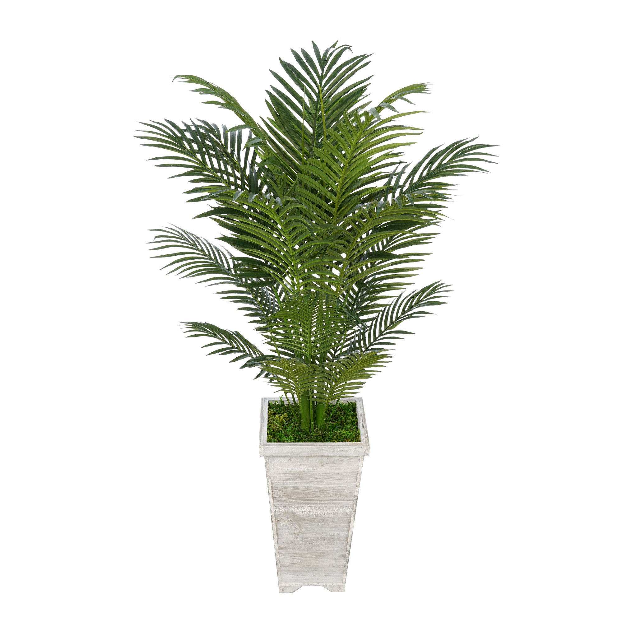 House of Silk Flowers Artificial 4-1/2 foot Areca Palm in Tall Washed Wood Planters (Light Grey)
