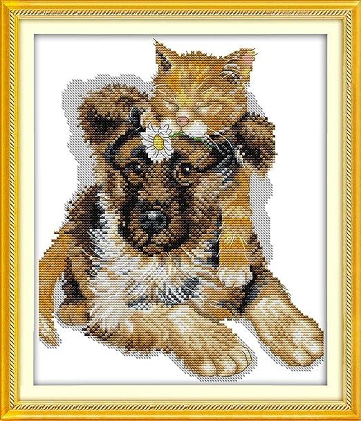 Chreey - Kit de Punto de Cruz | Gato y Perro | 28 x 32cm ...