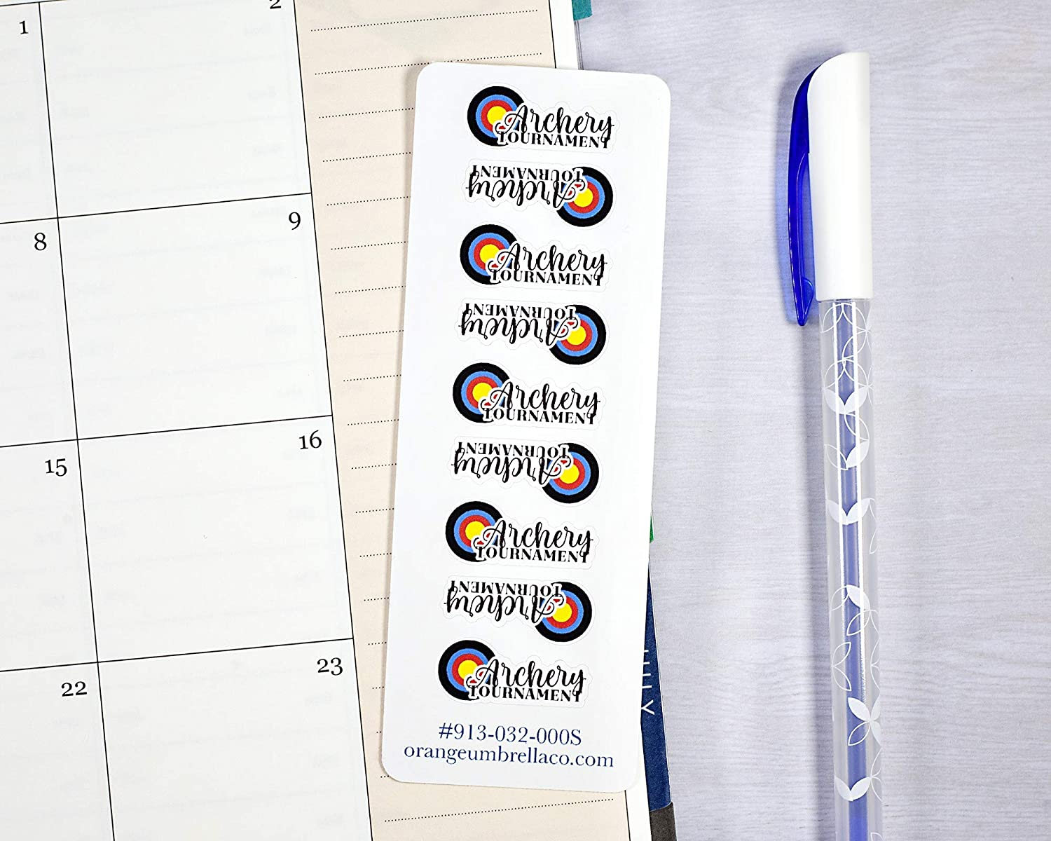 Flight Time Planner Stickers Archery Practice Tracker Stickers #913-032-000-WH Archery Tournament Icon Planner Stickers