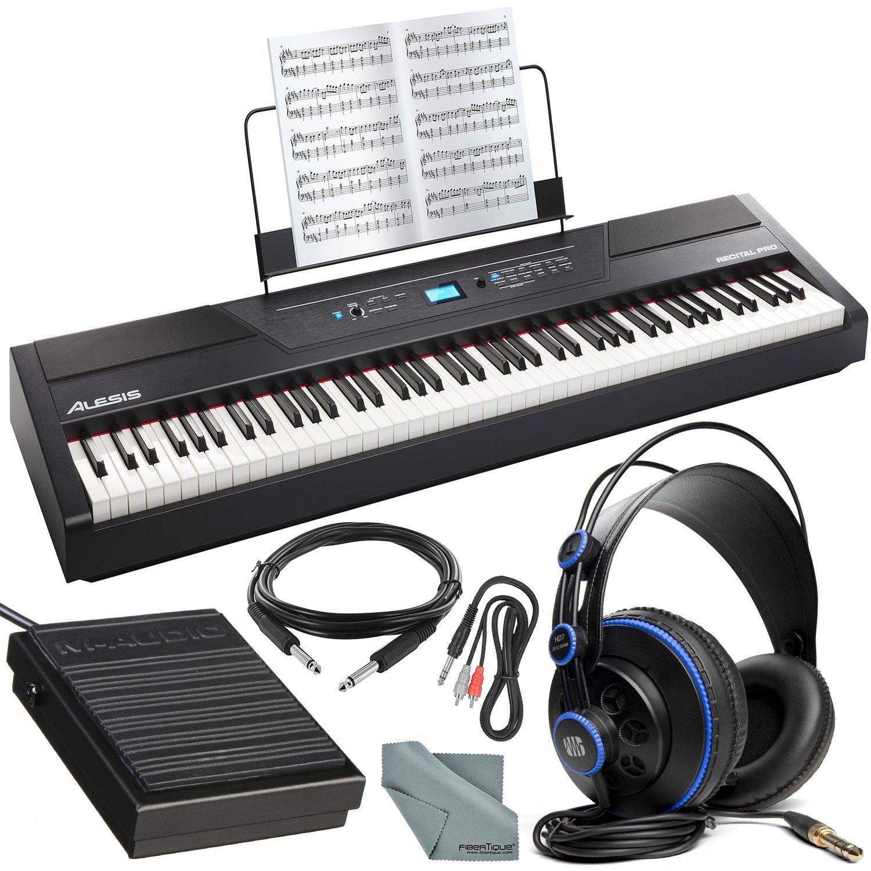 Alesis Recital Pro 88-Key Digital Piano W/Hammer-Action Keys Platinum Bundle with Sustain Pedal + Professional Headphones + Cables + Fibertique Cloth