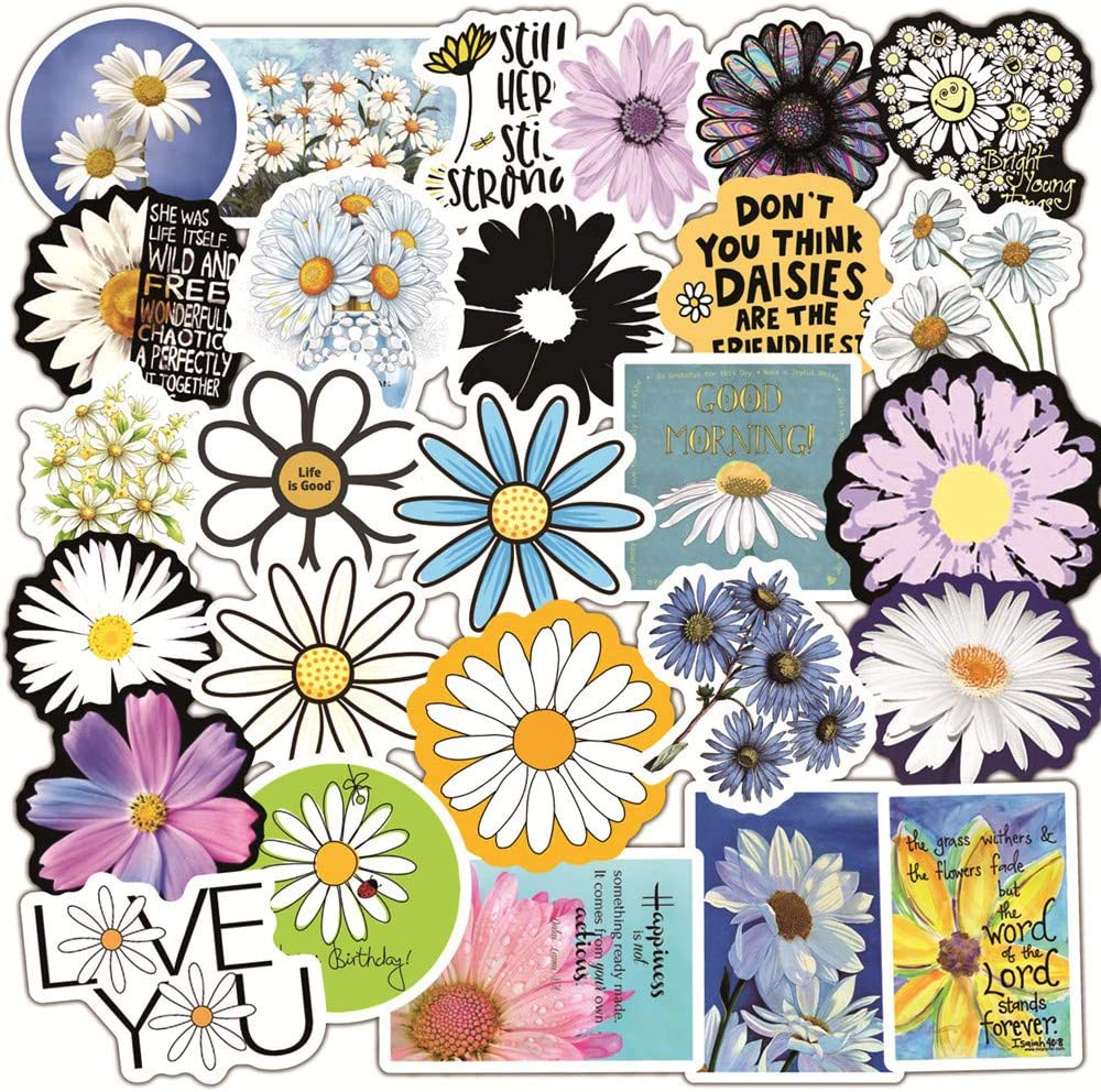 50 Pcs Daisy Stickers, VSCO Daisy Waterproof Vinyl Stickers for Water Bottles Laptop Car Bicycle Motorcycle Refrigerator Luggage Cup Computer Mobile Phone Locker Skateboard Decals