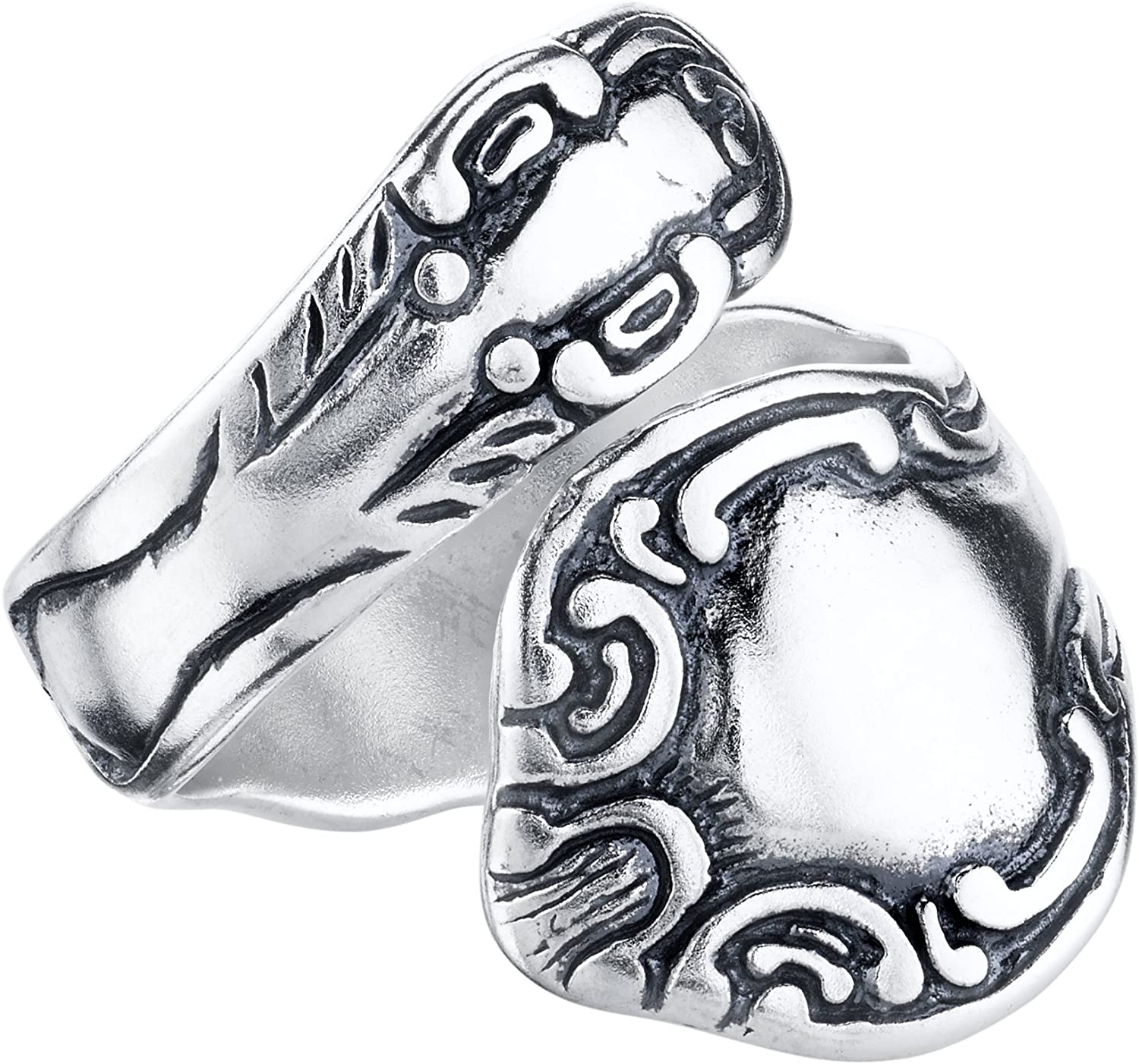 BSE Sterling Silver Swirl Motif Spoon Style Adjustable Ring Sizes 4-9 SE68218-S