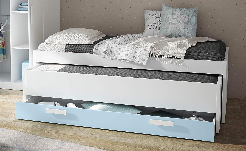 Miroytengo Cama Nido diseño Infantil o Juvenil Color Azul y Blanco con 1 Cajon 202x100x61 cm