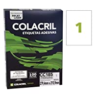 Etiqueta Adesiva Carta, 279.4 mm x 215.9 mm, 100 Folhas, Colacril, CC185, Branco, pacote de 100