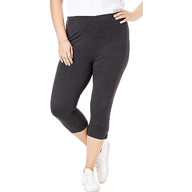 e9f7434c90 Woman Within Women's Plus Size Petite Stretch Cotton Capri Legging -  Heather Charcoal, ...