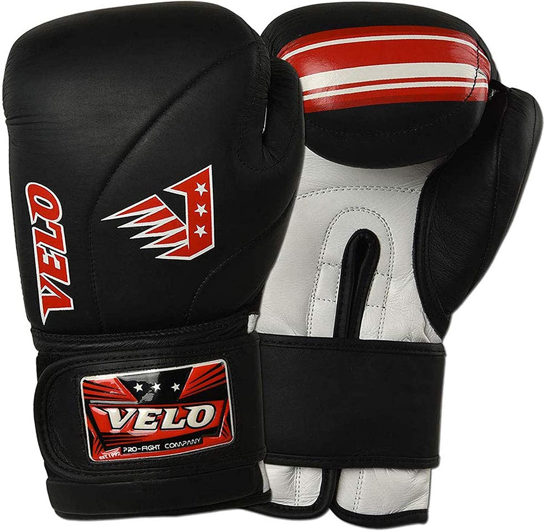 VELO Leather Boxing Gloves Muay Thai Training Professional Sparring Punching Bag Mitts Kickboxing Fighting Dull Shine Black