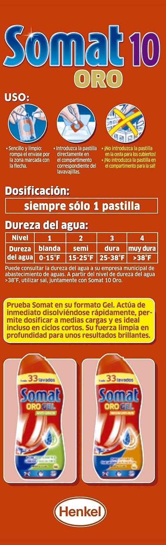 Somat 10 Oro - Detergente multifunción en pastillas para lavavajillas máquina 18 + 3D=21 (1 unidad)