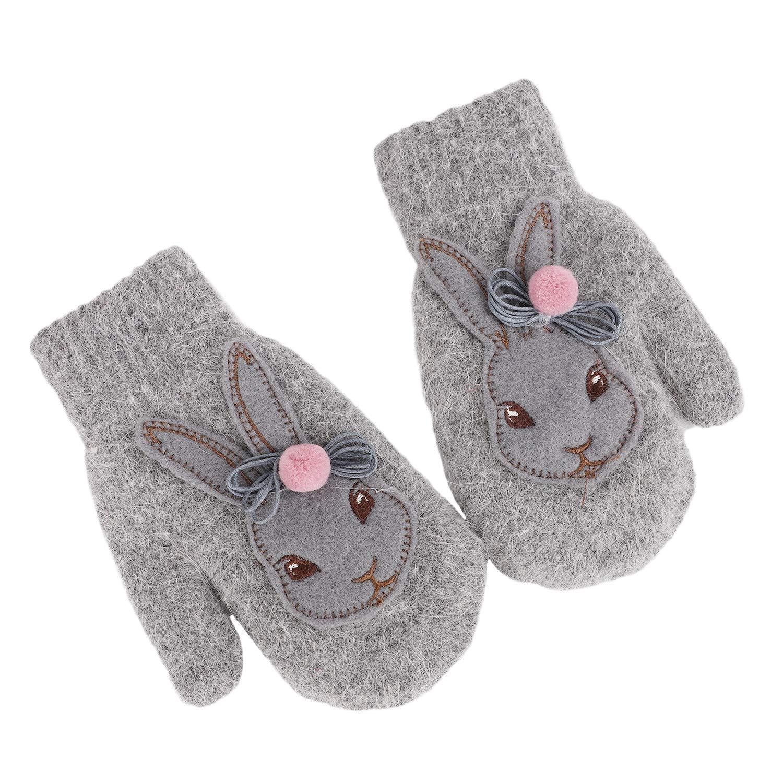 Full Finger Gloves Winter Cute Rabbit Design Gloves Warm Knitted Thicken Children Faux Fur Mittens Thermal Outdoor Mitten Cosy Ski Soft Cartoon Hand Warmer Christmas Gift Boys Girls Aged 3-8 Years