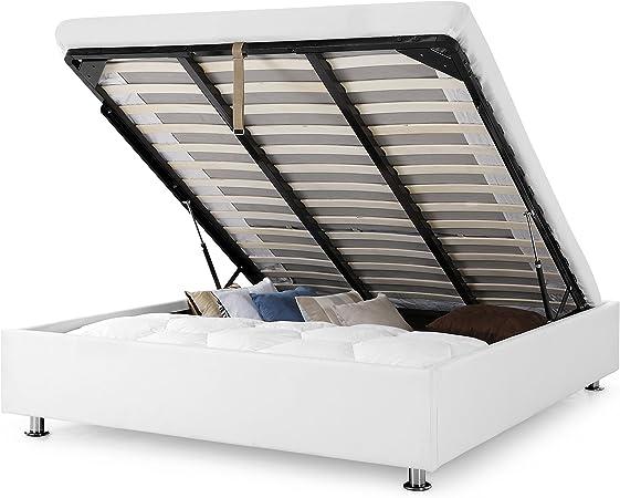 Confort Lit Coffre Clever Blanc 160x200 Cm