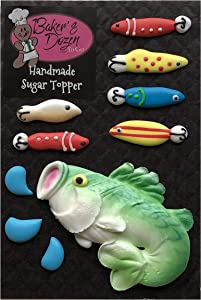 Large Mouth Bass- 10 pcs Fish and Fishing Lures Edible Icing Cake Cupcake Decoration Topper Kit by BakersDozenToGo