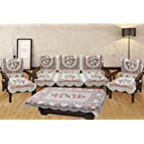 Unique Productions Floral 5 Seater Sofa Cover Set -10 Pieces with 1 Center Table Cover