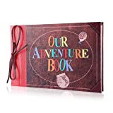 Pulaisen Scrapbook Album Upgraded Our Adventure Book Handmade DIY Family Scrapbook with 3D Letter Cover,Great for Thanksgiving, Christmas, Anniversary, Family Memory,Wedding,Birthday,Valentines Day (Color: Our Adventure Book Retro Style, Tamaño: 11.8