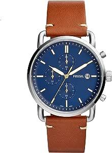ساعة فوسيل للرجال كوارتز ، عرض تناظرية وحزام جلدي