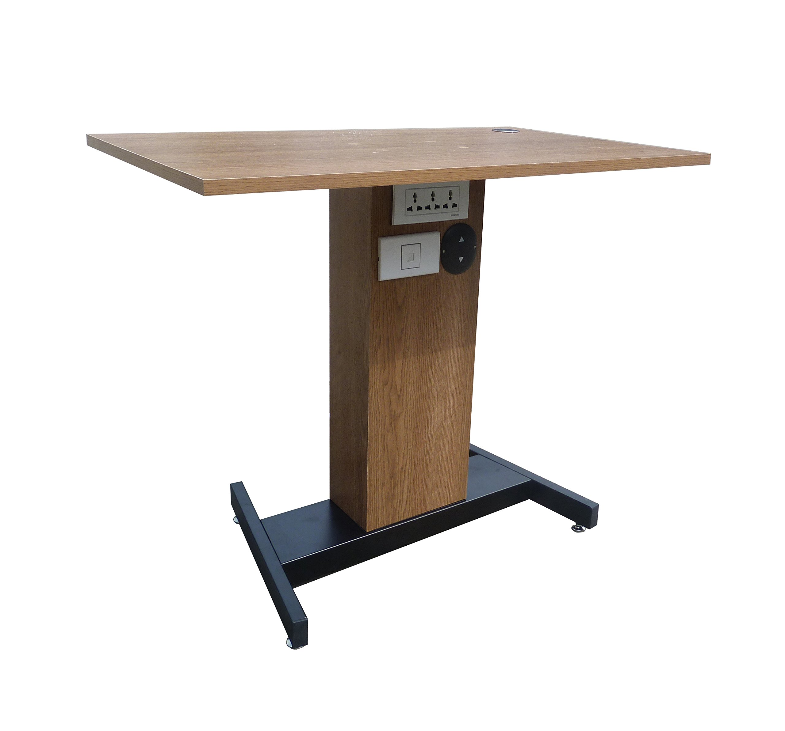 FixtureDisplays Adjustable Height Sit Stand Table Desk Workstation Computer Stand Ergonomic Cherry 1227-One Rate