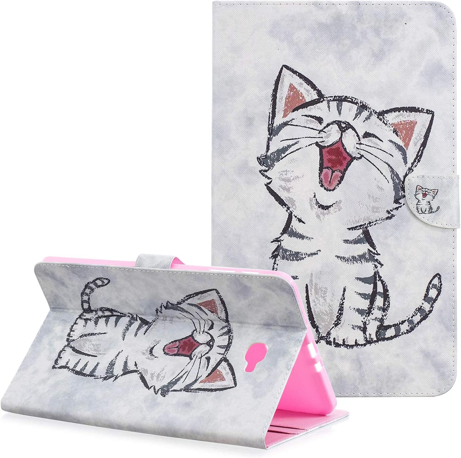 Galaxy Tab A 10.1 Case, Case for Samsung 10.1 Tablet - Dteck Flip Leather Smart Stand Cover with Auto Sleep/Wake for Samsung Tab A 10.1 Inch (NO S Pen Version SM-T580/T585/T587)- Happy Cat