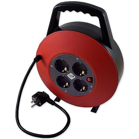 TM Electron TMUAD215 - Cable de alimentación en Bobina Enrollable de 15 Metros con 4 Tomas
