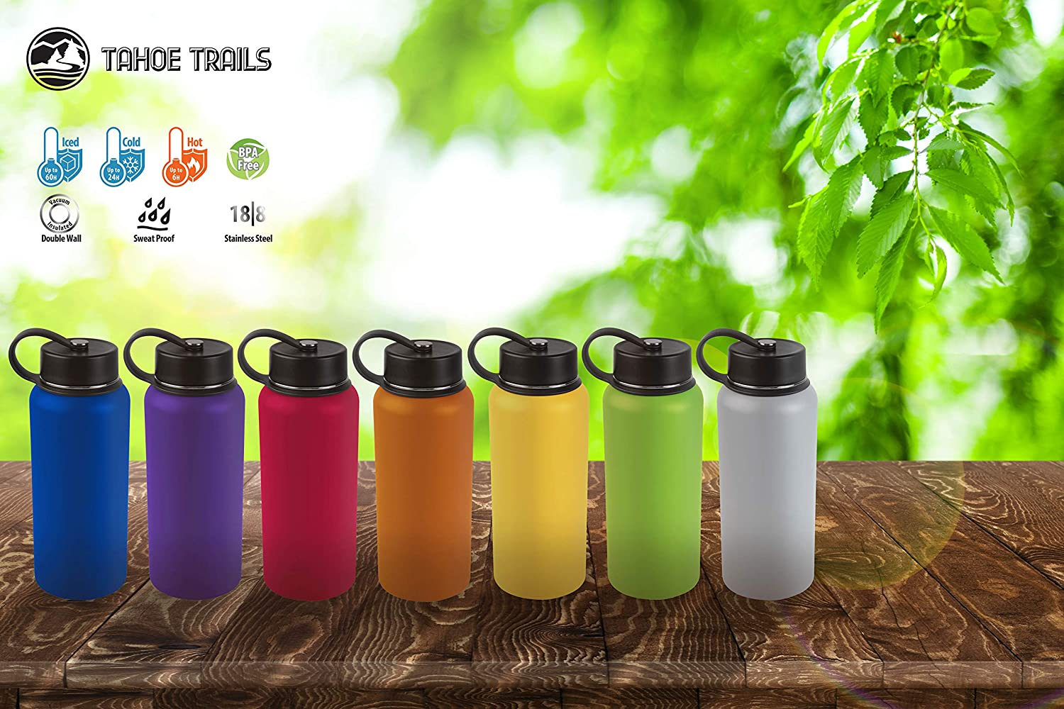 Tahoe Trails 40 oz Double Wall Vacuum Insulated Stainless Steel Water Bottle Gray