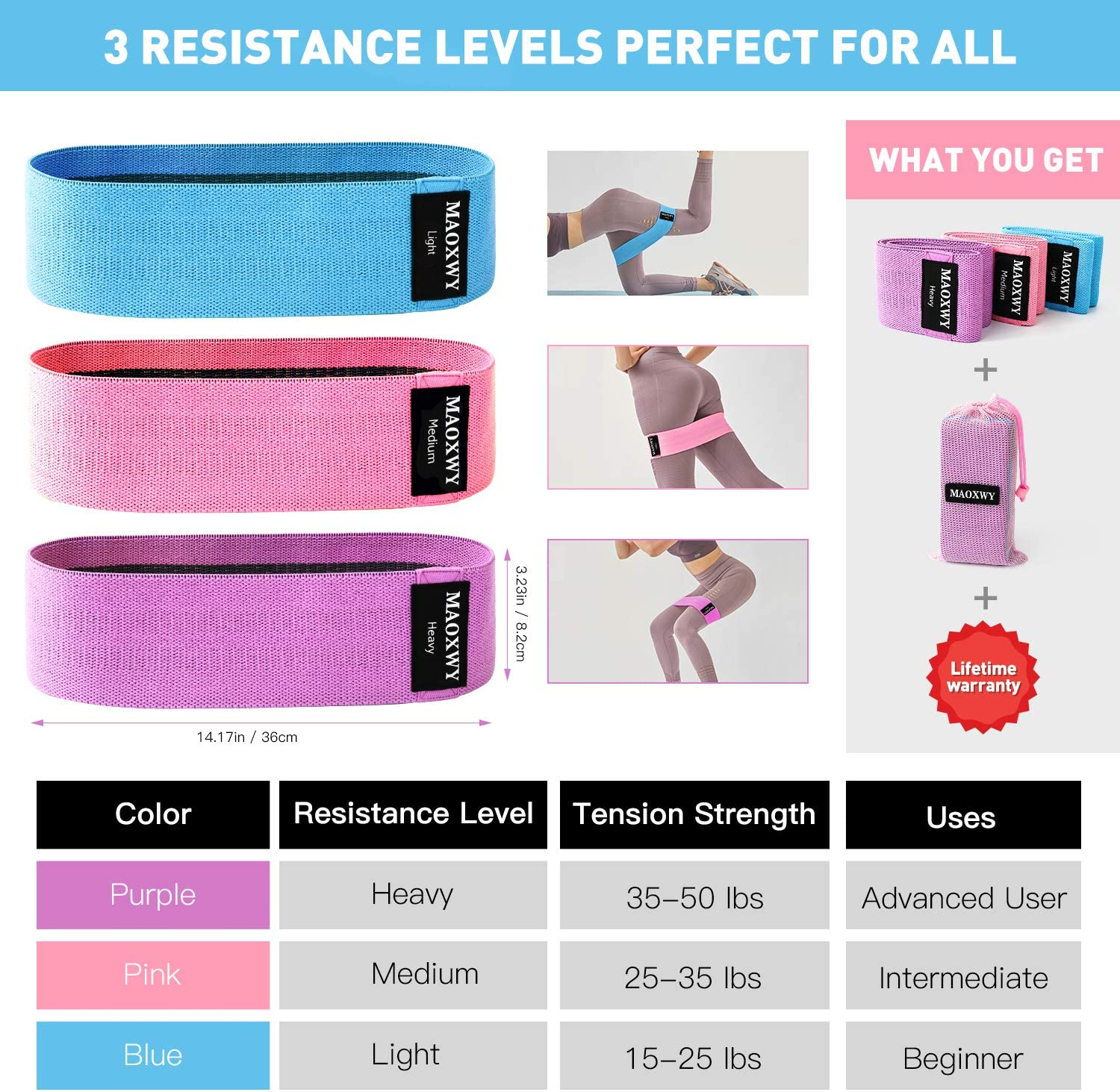 3 Pack Fabric Elastic Booty Bands with 3 Resistance Levels Deadlifts Pilates Yoga MAOXWY Resistance Bands Set Stretching Non-Slip Exercise Workout Bands Hip Bands for Legs and Butt,Squats