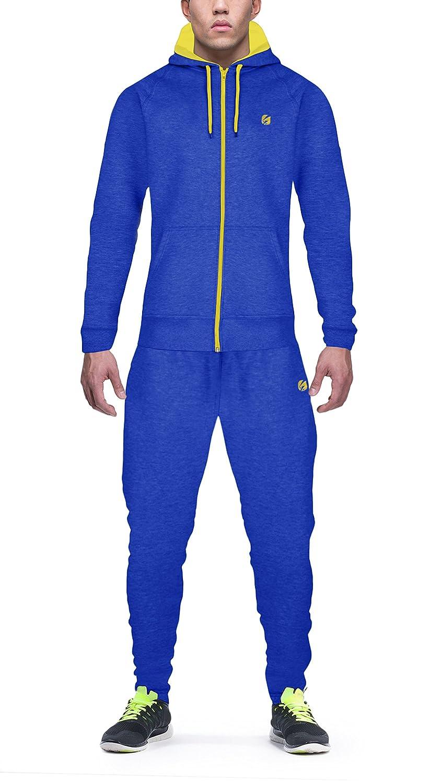 Candish TR3NCH Men's Hoody/Fleece Tracksuit Set New Contrast Cord Fleece Hoodie Top Bottoms Jogging/Joggers Gym Sport Sweat Suit Pants Plus Size S M L XL XXL