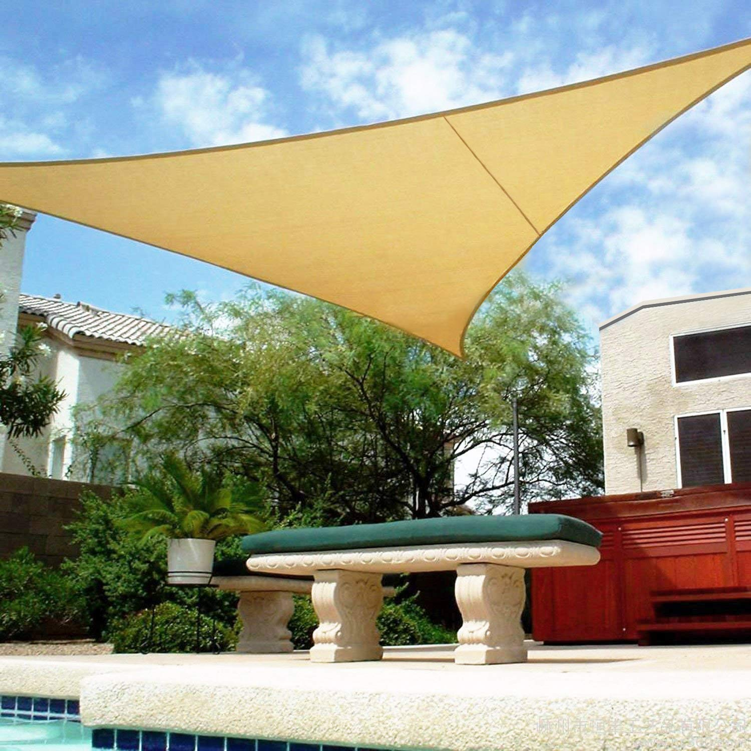Shade&Beyond 16' x 16' x 16' Sand Color Triangle Sun Shade Sail for Patio UV Block for Outdoor Facility and Activities by Shade&Beyond