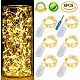 [6-PACK] 7Feet Starry String Lights,Fairy Lights Battery Operated with 20 Micro Leds On Silvery Copper Wire. 2pcs CR2032(Incl), Works for Wedding Centerpiece,Party,Table Decorations(Warm White)