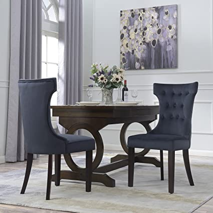 Belleze Set Of 2 Black Premium Dining Chairs Side Room Fabric Indoor W Nailhead