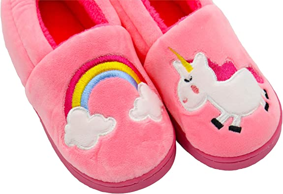 Oumaiga Unicorn Boys Girls Fuzzy Lining House Shoes Warm Cartoon Children Winter Indoor or Outdoor Slippers for Toddler and Little Kids
