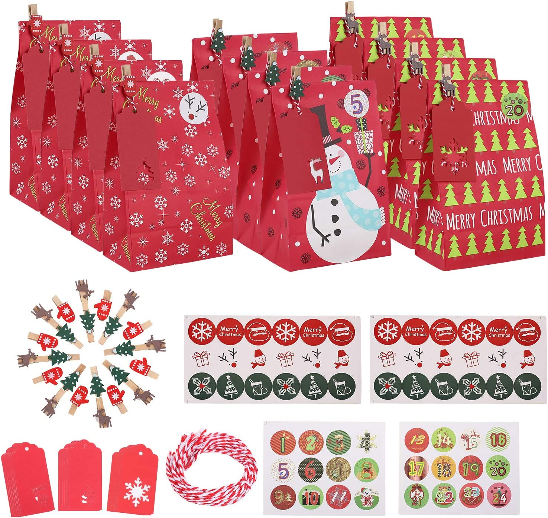 Ulikey 30 pcs Calendario de Adviento Navidad, Bolsa de Regalo, Papel Regalo Bolsas con Pegatinas, Bolsas para Regalos de Boda Bolsas de Papel Kraft para Niños Suministros Fiesta de Cumpleaños