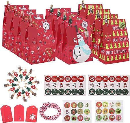 🎄 El paquete incluye: 30 bolsas de regalo navideñas, 36 pegatina de navidad, 24 x clip de navidad,
