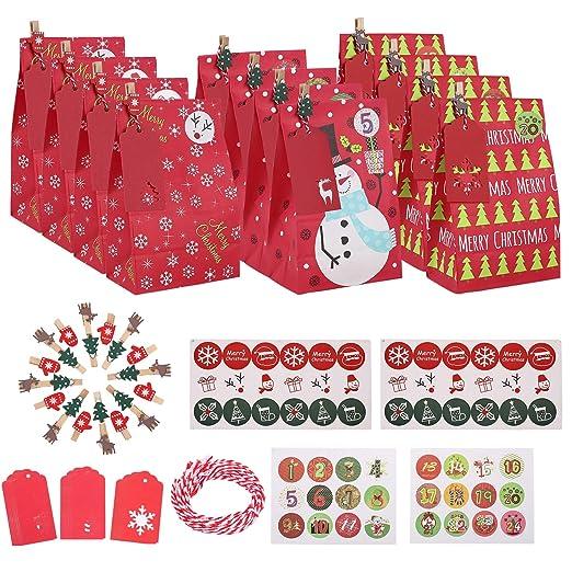Ulikey 30 pcs Calendario de Adviento Navidad, Bolsa de Regalo, Papel Regalo Bolsas con Pegatinas, Bolsas para Regalos de Boda Bolsas de Papel Kraft ...