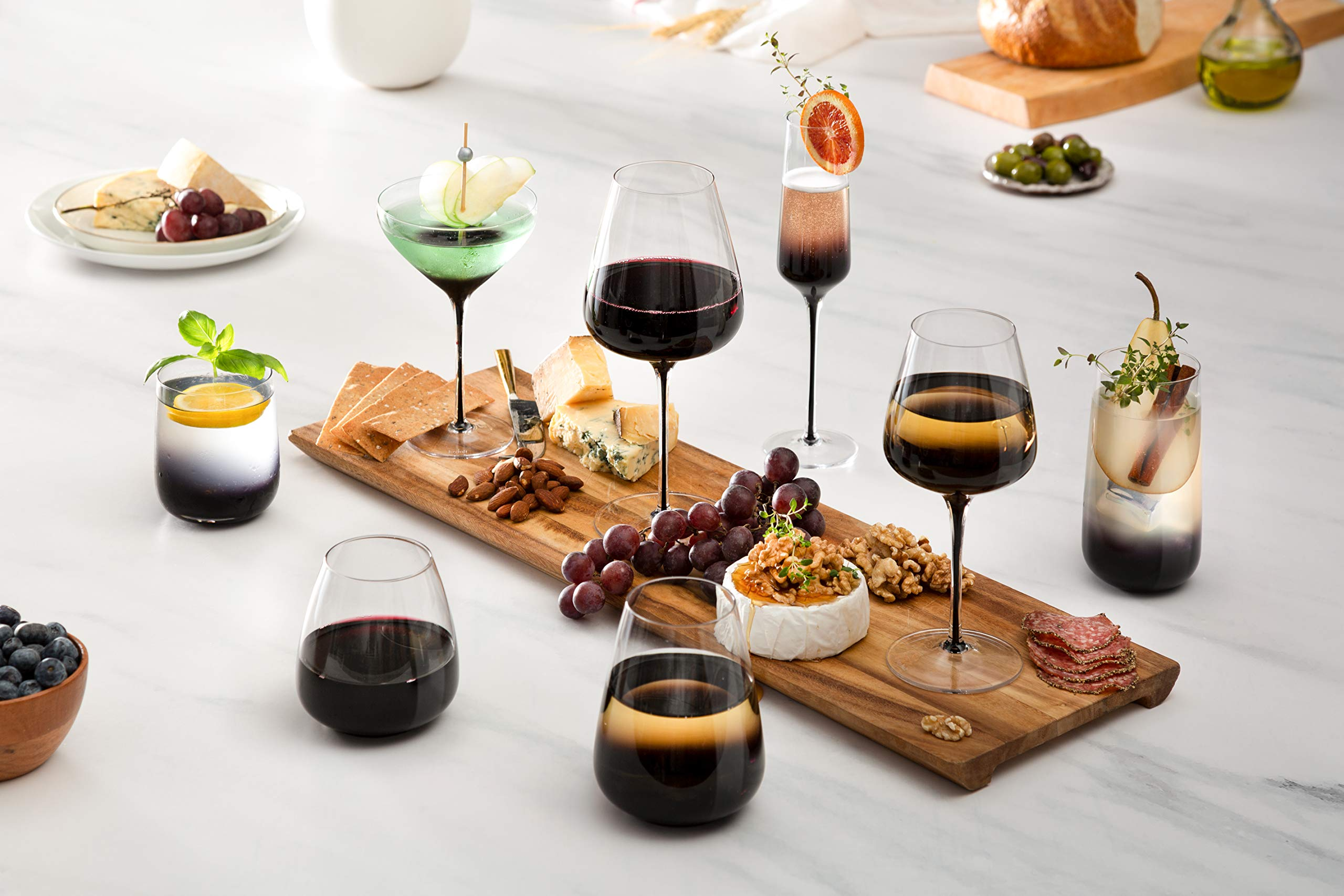 JoyJolt Black Swan Stemmed Martini Glasses, Premium Lead Free Crystal Glassware, 10.5 Oz Capacity, Set Of 2 by JoyJolt (Image #6)
