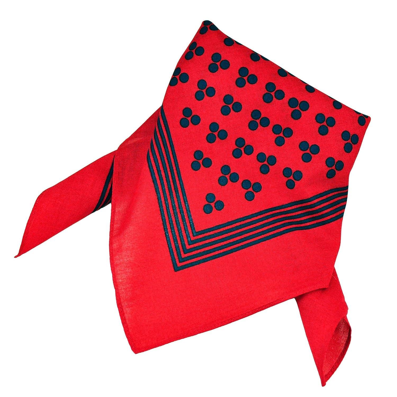 Red With Navy Blue 3-Dot & Stripes Bandana Neckerchief Ties Planet