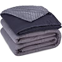 CoziRest Cooling Weighted Blanket Deluxe Set | 15 lbs 60x80 | Double Stitched Heavy Blanket with Dual Sided Cool Bamboo and Warm Minky Removable Cover. Best Calming Blankets For Adults From 140-190 lb