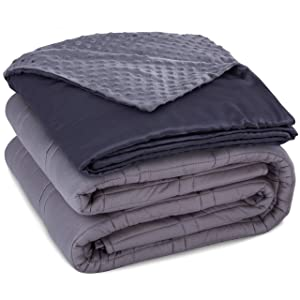 """CoziRest Cooling Weighted Blanket - 15 lbs - 60x80"""" Queen Size - Cool Bamboo & Cozy Minky Dual-Sided Cover Included - Heavy Blanket for Adults from 140 - 190 lbs sleep blankets - 81phgJ4SOBL - Sleep blankets review – benefits of sleeping with weighted blankets"""