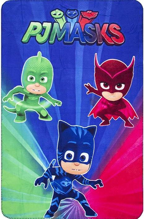 PJ Masks Héroes en Pijamas HQ4415 Manta Polar, 150 Centímetros, Multicolor, Gatuno, Buhíta, Gecko (Azul)