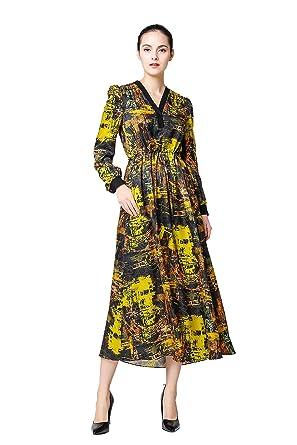 0649ac3e16e VOA Women s Yellow Print V-Neck Long Sleeve Silk Maxi Dress A6311 at Amazon  Women s Clothing store