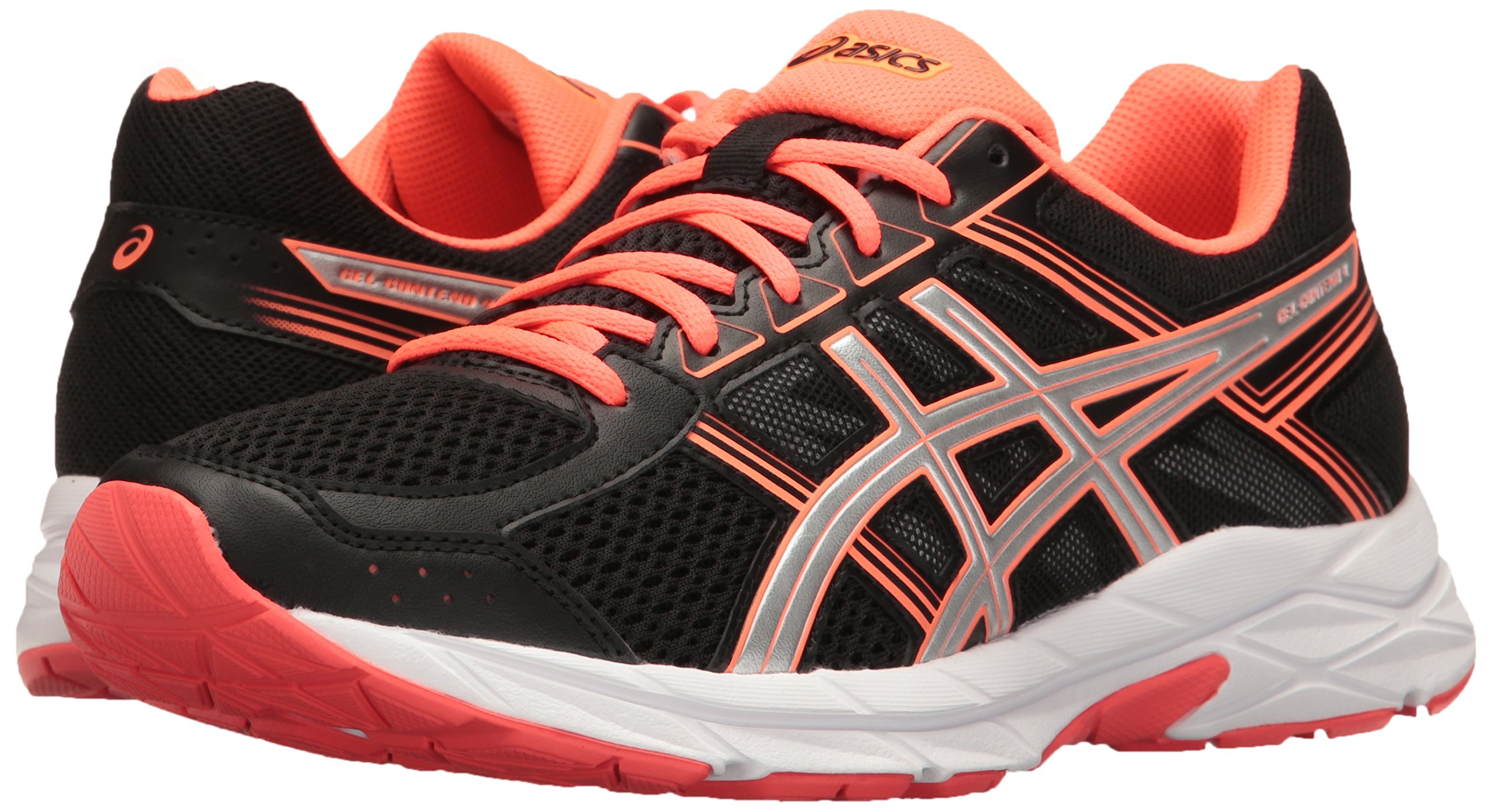 ASICS Women's Gel-Contend 4 Running Shoe, Black/Silver/Flash Coral, 5 M US by ASICS (Image #6)
