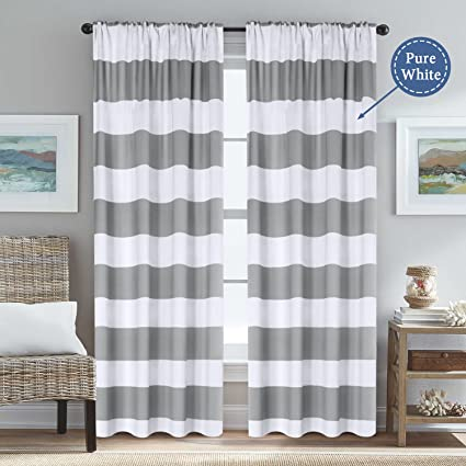 Gray Striped Rod Pocket Blackout Window Curtains Thermal Insulated Grey And  Pure White Striped Curtains For