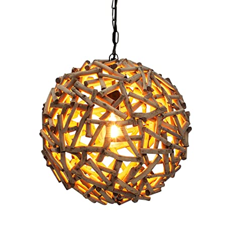 Massive Suspension Pure Nature 40 Cm Bois Flotte A La Main Lampe A