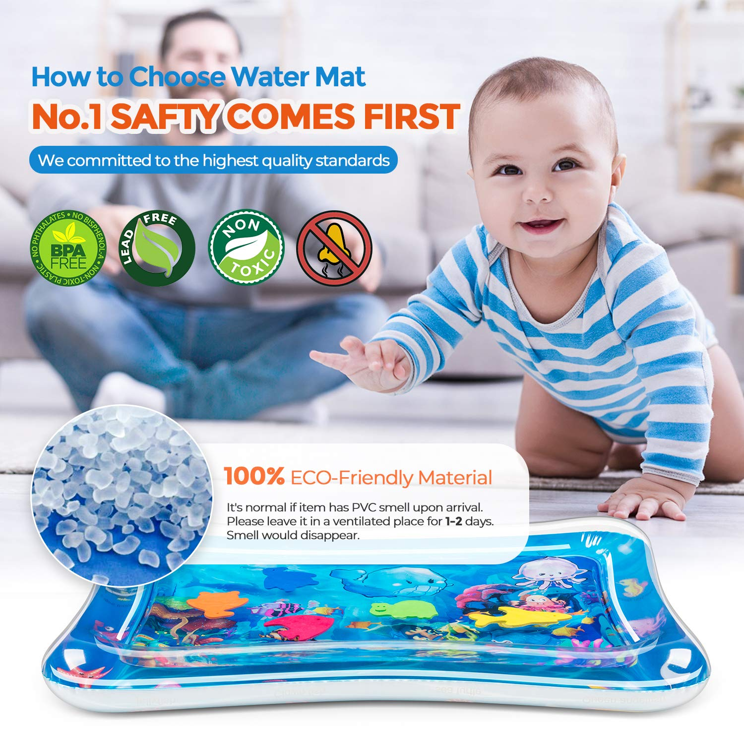 Tummy Time Baby Water Mat Inflatable Baby Play Activity Center for 3 6 9 Months