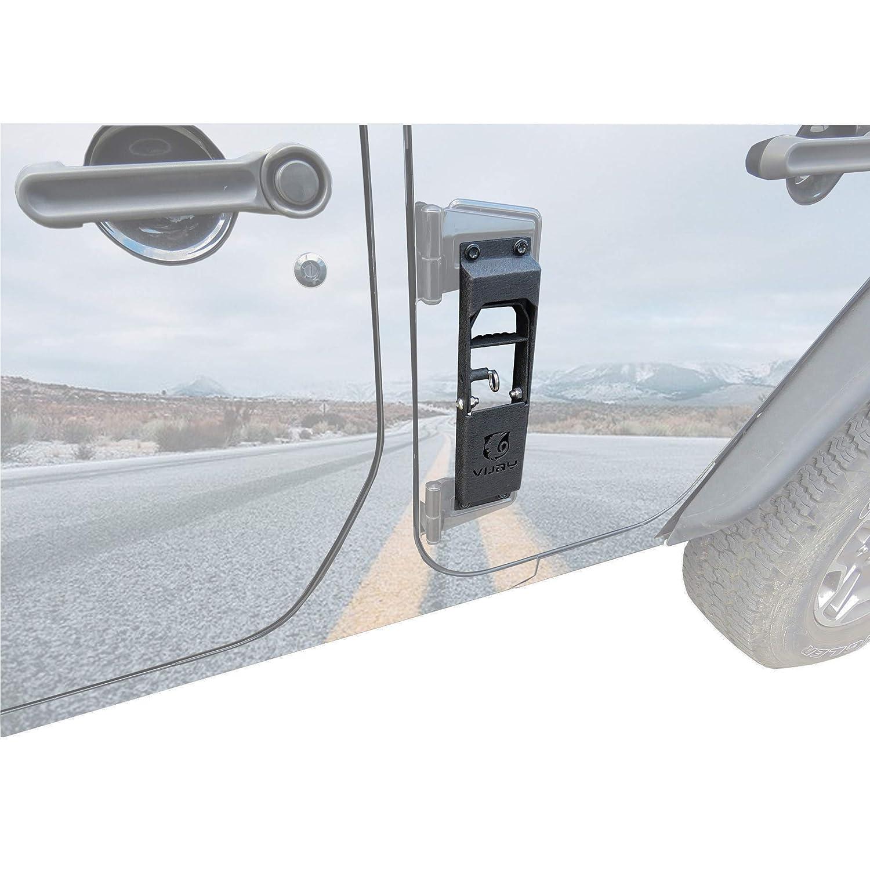 Hunter Black Door Hinge Steps Metal Folding Foot Pedal Peg for 2007-2018 Jeep Wrangler JK JKU