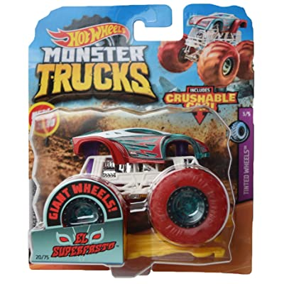 Hot Wheels Monster Trucks 1:64 Scale El Superfasto 20/75 Crushable car, red/Green/White: Toys & Games
