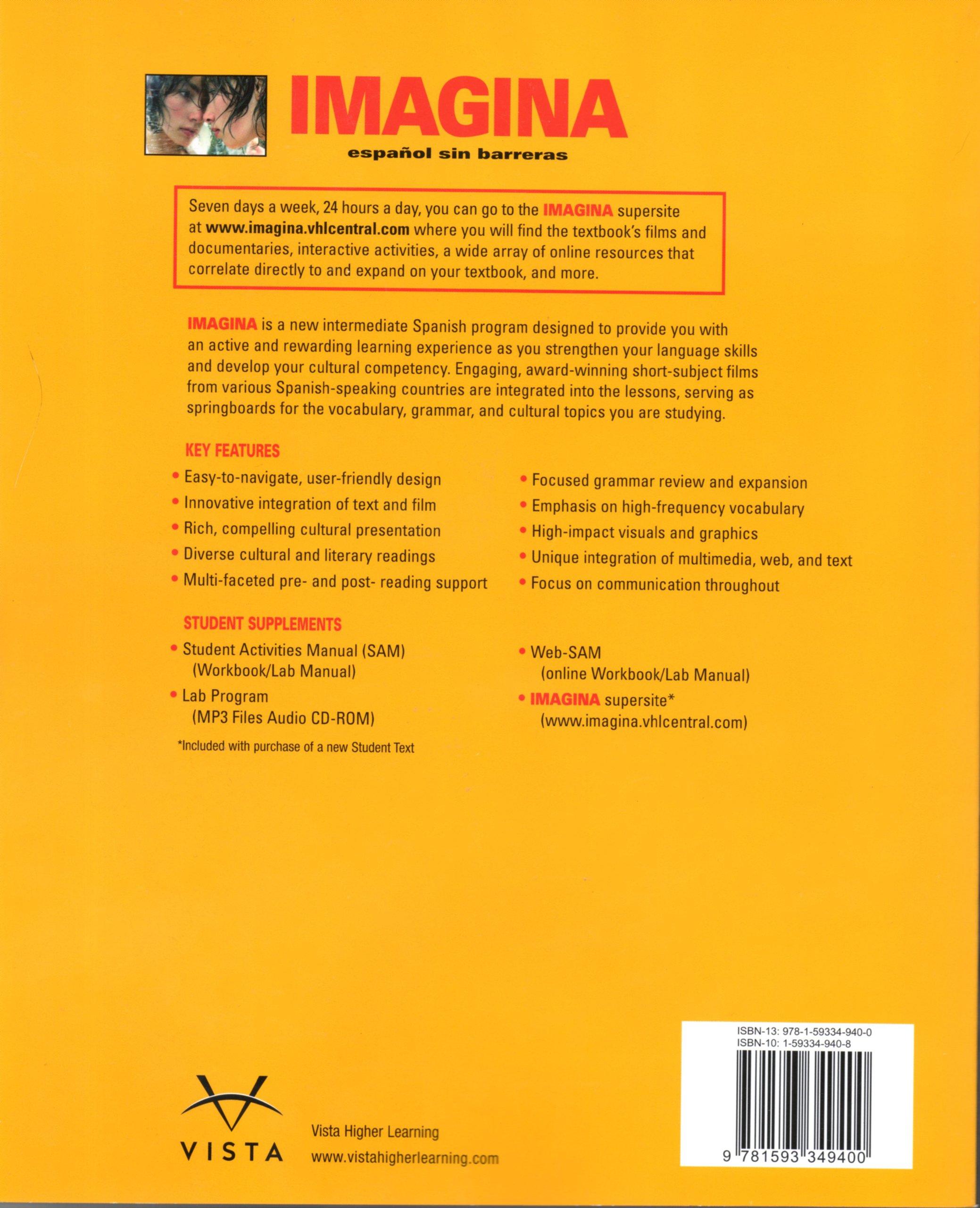 com imagina espanol sin barreras curso intermedio de  com imagina espanol sin barreras curso intermedio de lengua espanola 9781593349400 jose a blanco books